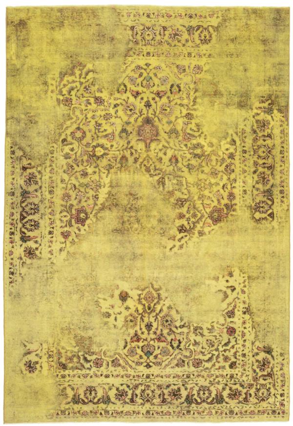 Vintage Relief Rug Yellow 290 x 195 cm