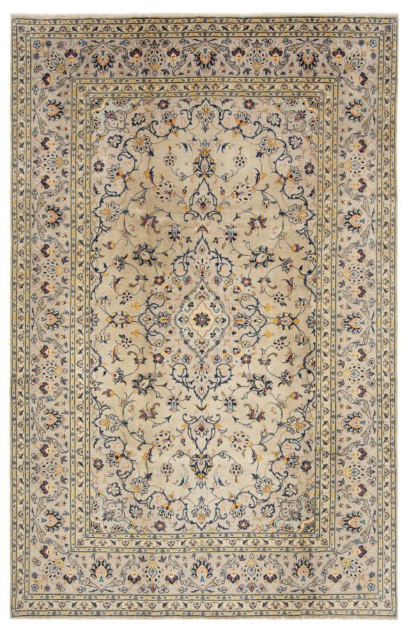 Kashan Persian Rug Beige-Cream 295 x 190 cm