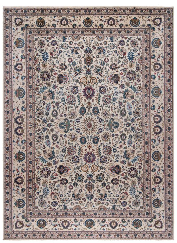 Kashan Persian Rug White 440 x 325 cm