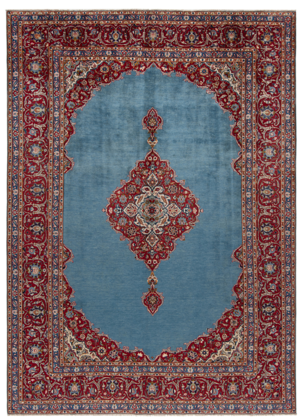 Kashan Persian Rug Blue 370 x 267 cm