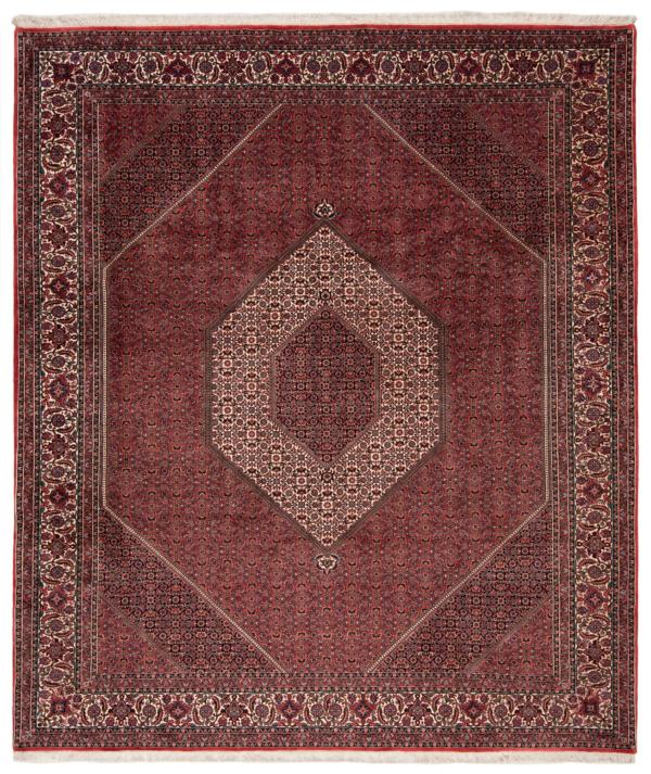 Bidjar Tekab With Silk Persian Rug Red 300 x 256 cm